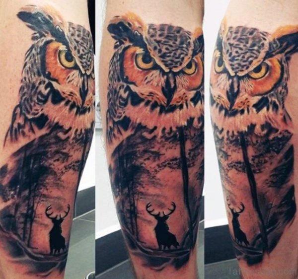 Fantastic Owl Tattoo On Leg