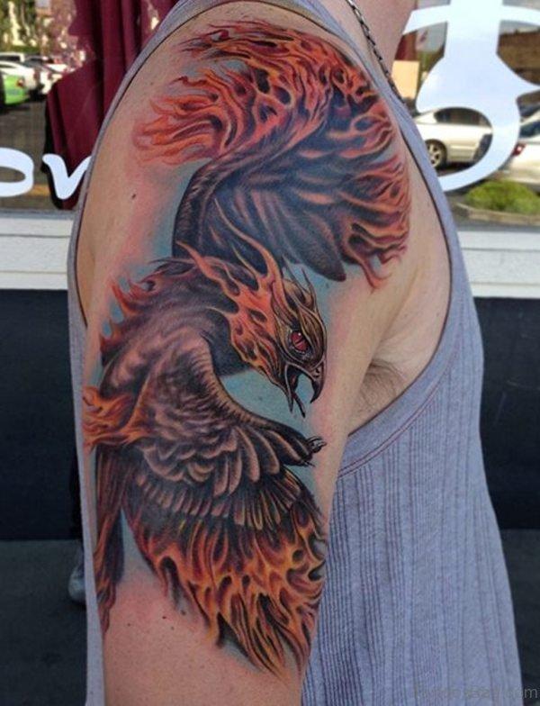 Fantastic Phoenix Shoulder Tattoo