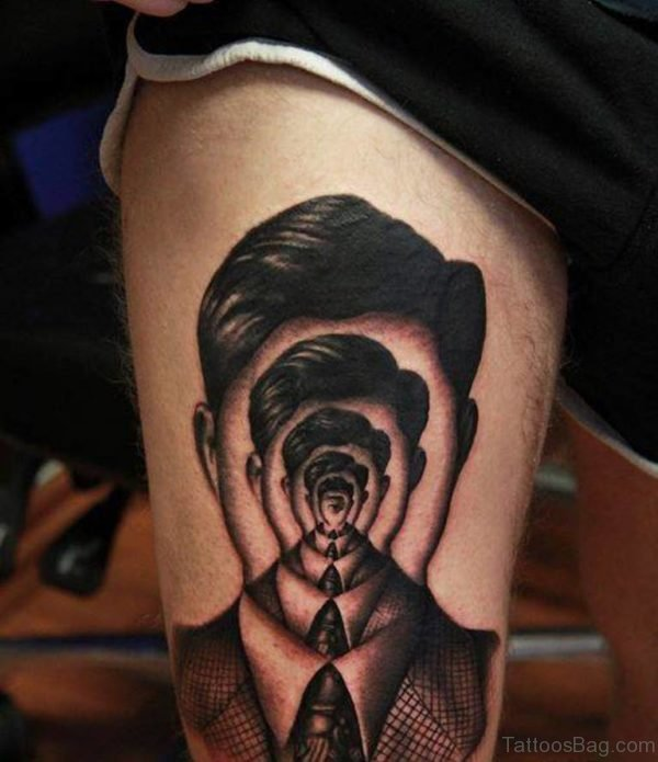 Fantastic Portrait Tattoo Design On Thigh
