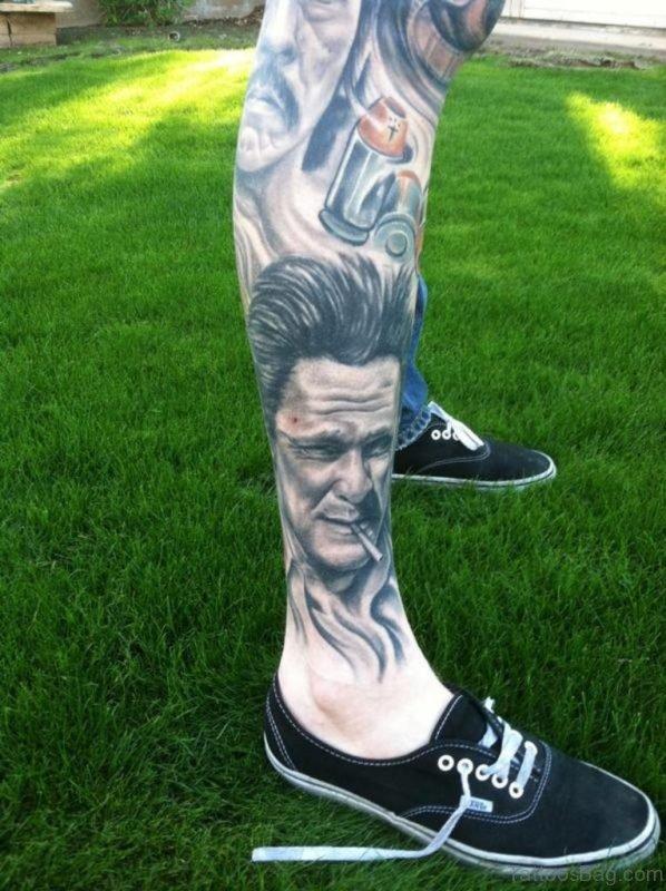 Fantastic Portrait Tattoo On Leg