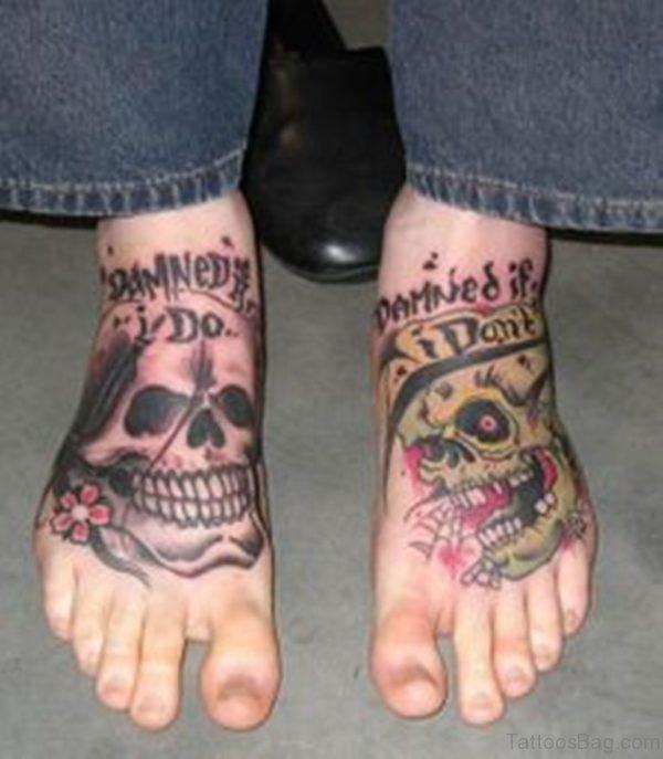 Fantastic Skull Tattoo On Foot