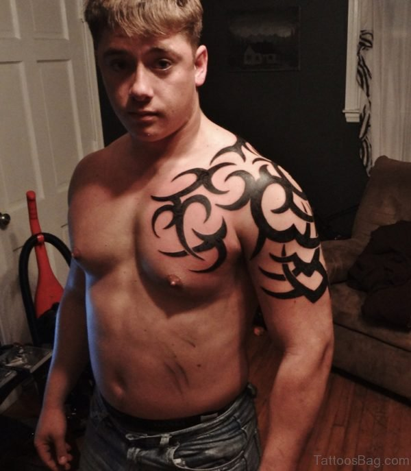 Fantastic Tribal Tattoo On Chest