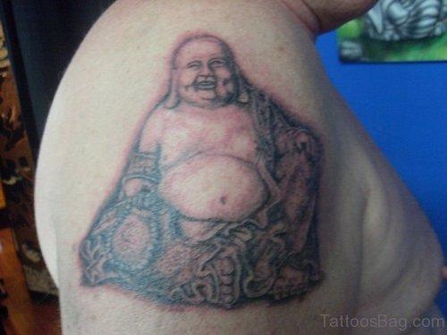 Fat Buddha Tattoo On Shoulder