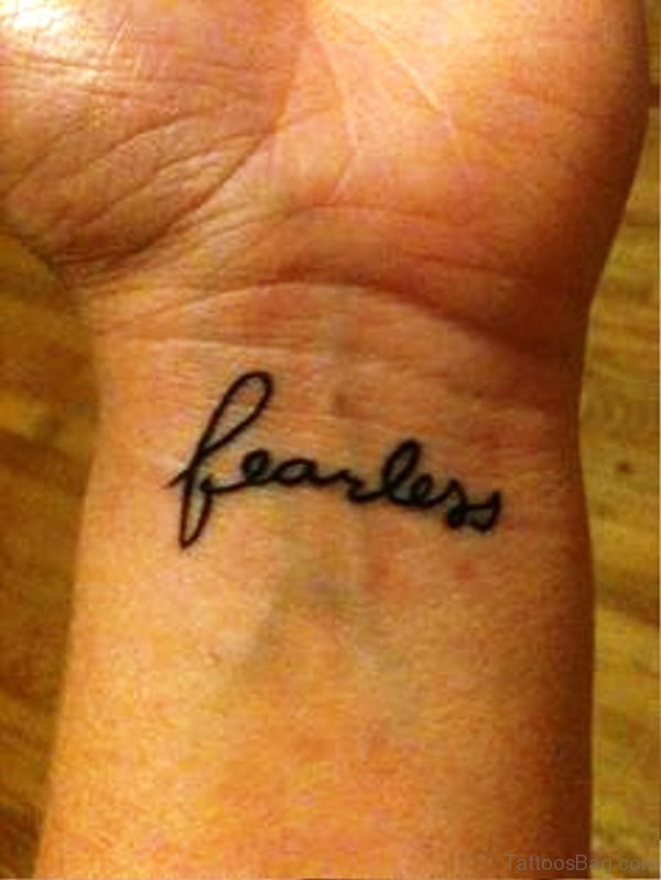 Fearless Word Tattoo On Wrist