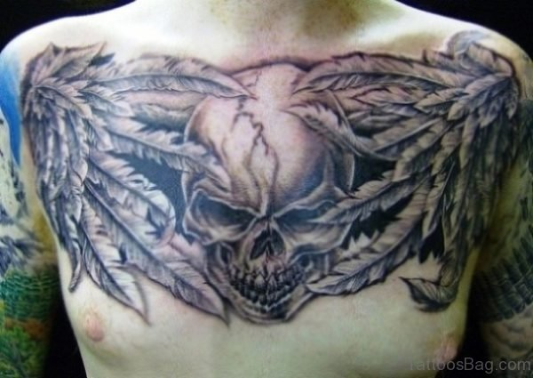 Feather And Skull Tattoo