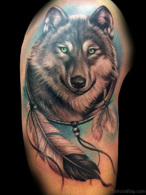 Feather And Wolf Tattoo