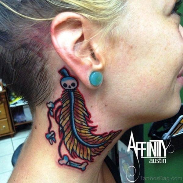 Feather Skull Tattoo On Neck