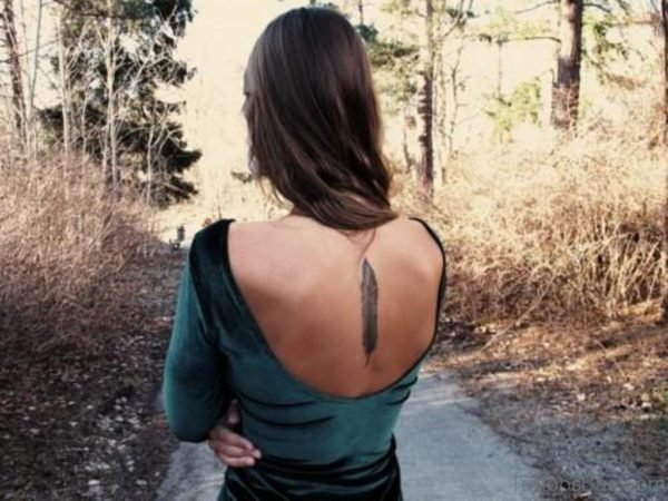 Feather Tattoo On Back Body For Girls