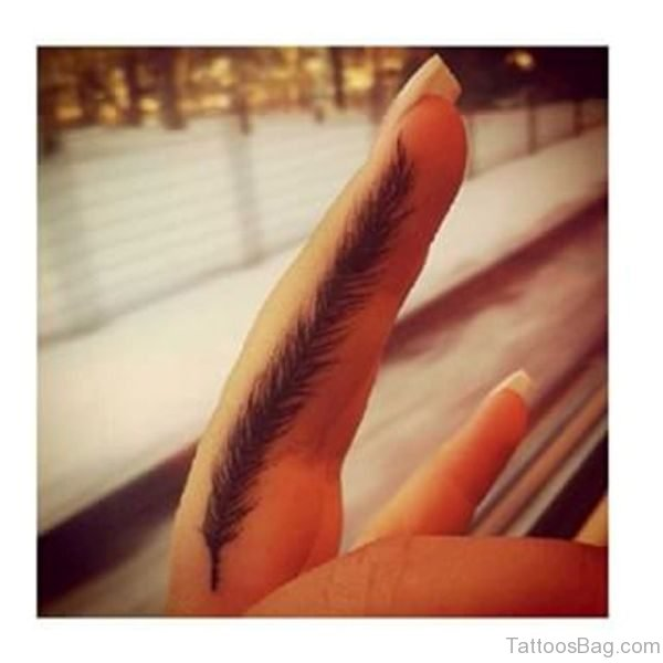 Feather Tattoo On First Finger