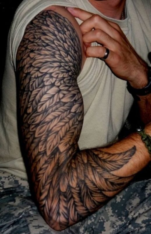 Feather Tattoo On Full Sleeve