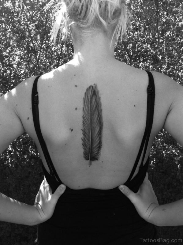 Feather Tattoo On Girl back
