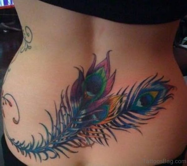 Feather Tattoo On Lower Back Image