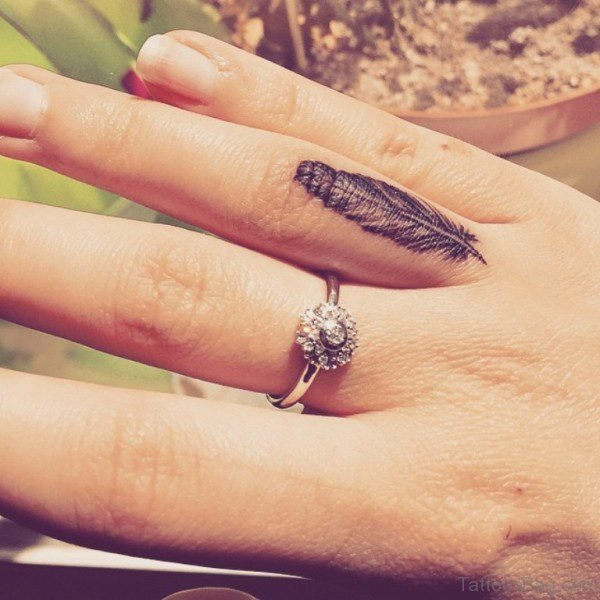 Feather Tattoo On Ring Finger