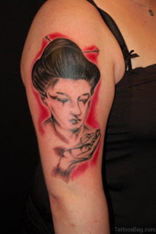 Female Shoulder Japanese Geisha Tattoos