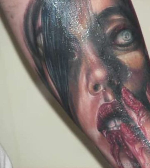 Female Vampire Face Portrait Tattoo