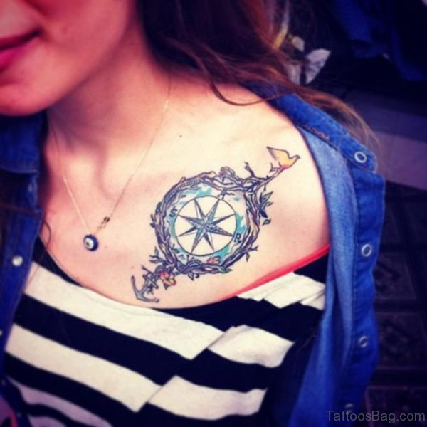 Feminine Compass Tattoo On Girl Front Shoulder