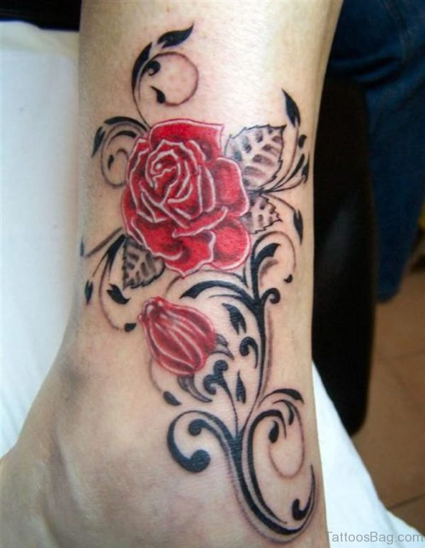 Feminine Red Rose Tattoo On Ankle