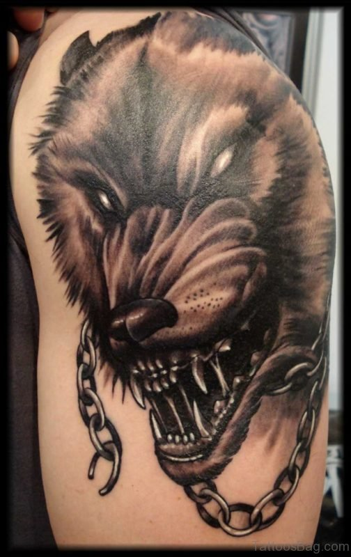 Fenrir Wolf Tattoo On Left Shoulder