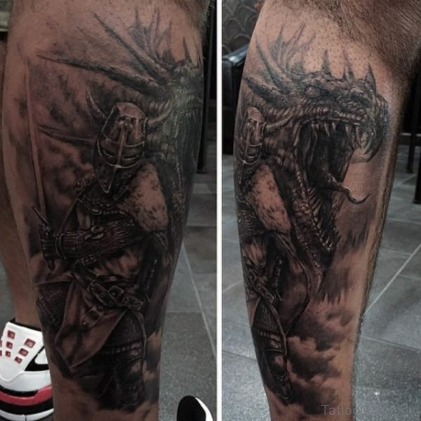 Fighting Dragon Tattoo For Men
