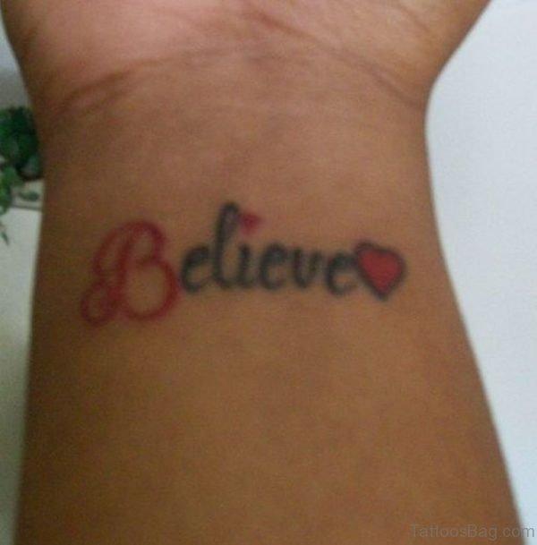 Fine Believe Word Tattoo