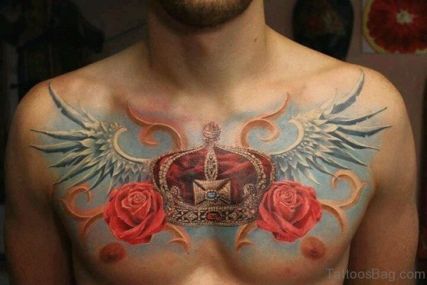 Fine Flower Tattoo On Chest