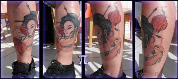 Fine Geisha Tattoo On Leg