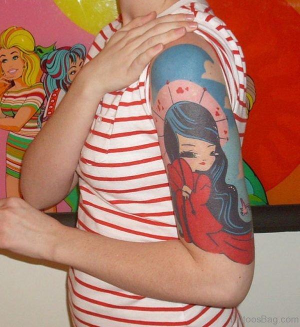 Fine Girl Portrait Tattoo On Half Sleeve