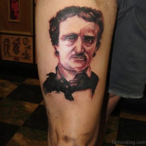 Fine Portrait Tattoo On Thigh