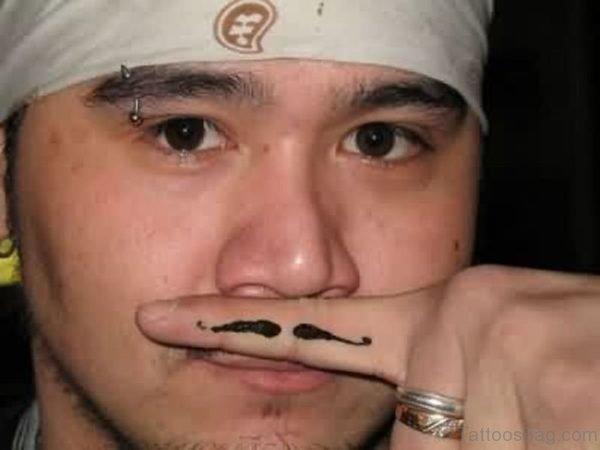 Finger Mustache Tattoo For Guy