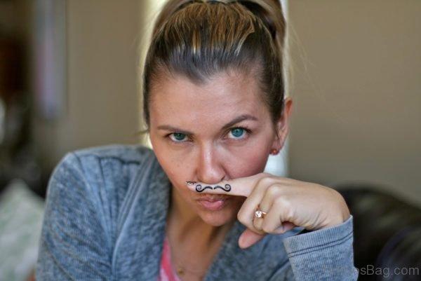 Fingerstache Finger Mustache Tattoo