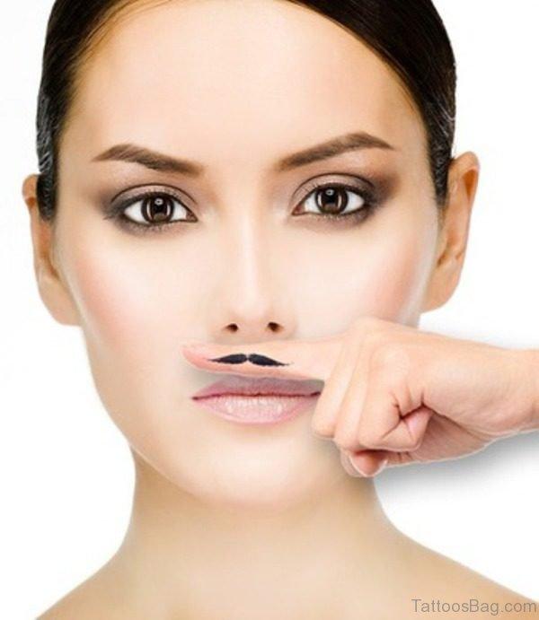 Fingerstache Mustache Tattoo Design