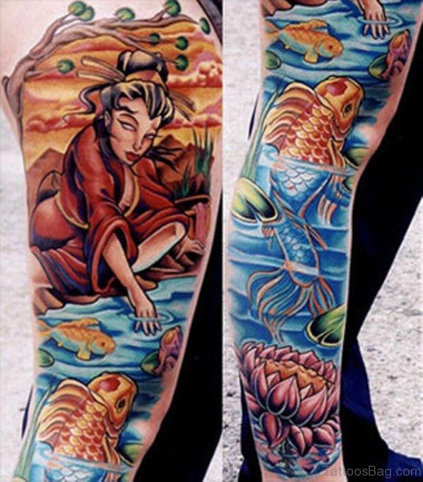 Fish And Geisha Tattoo on The Leg