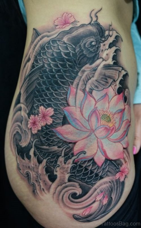 Fish And Lotus Tattoo