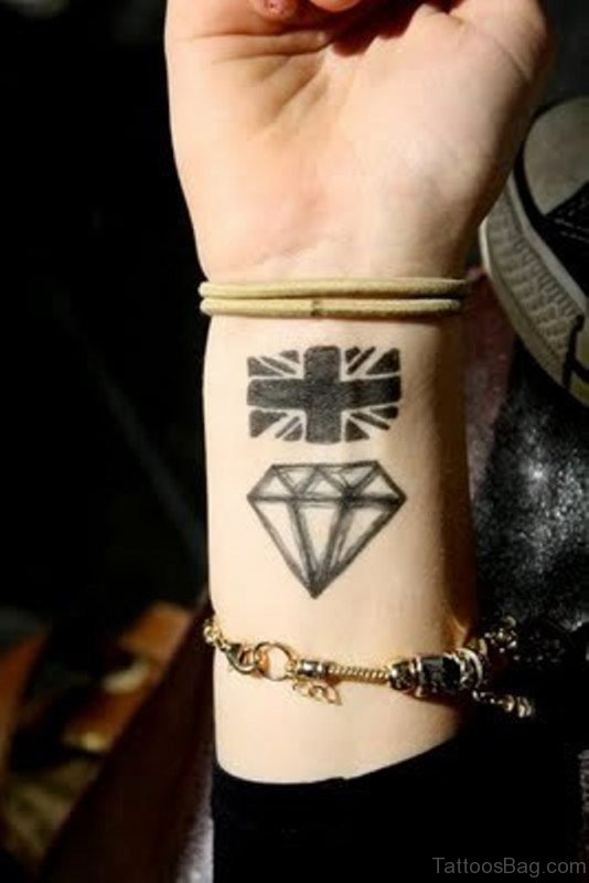 Flag And Diamond Tattoo On Wrist