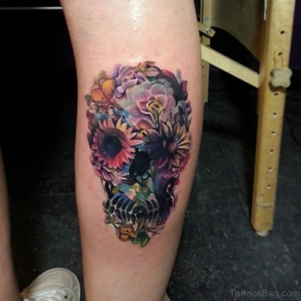 Floral And Skull Tattoo