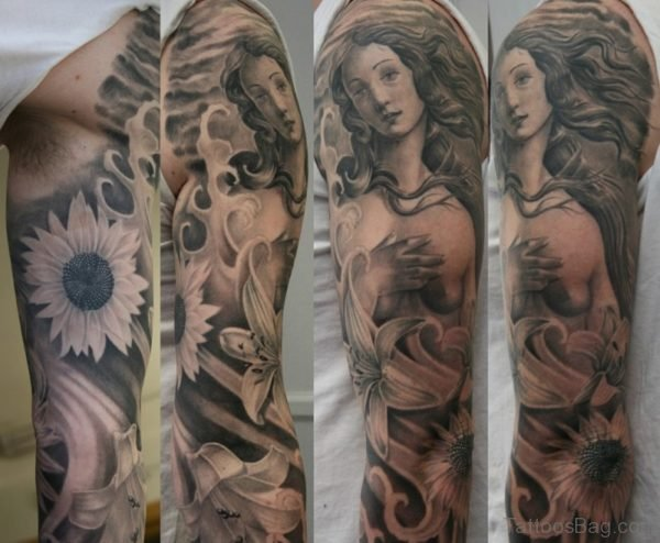 Flower And Angel Tattoo