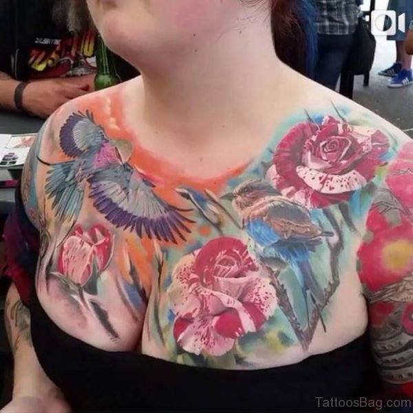 Flower And Bird Tattoo On Chest
