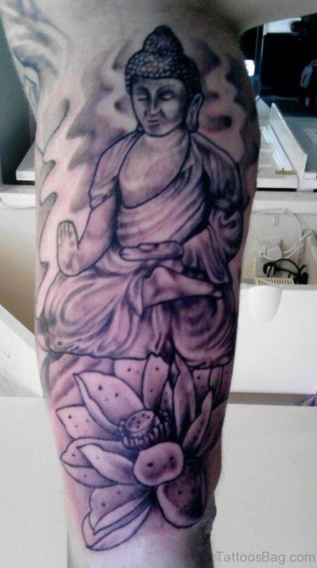 Flower And Buddha Tattoo On Sleeve