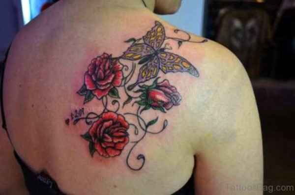 Flower And Butterfly Tattoo On Shoulder Back