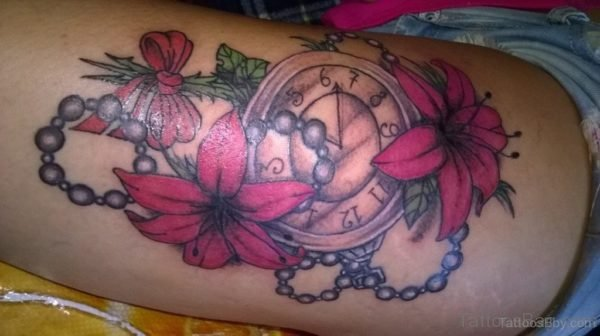 Flower And Clock Tattoo On Thigh