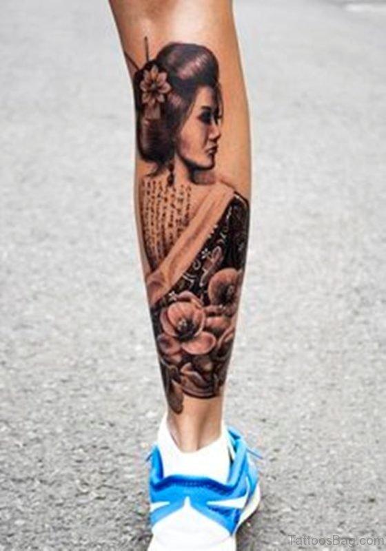 Flower And Geisha Tattoo