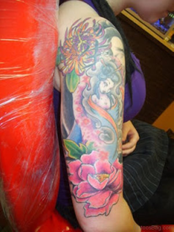 Flower And Geisha Tattoo On Shoulder