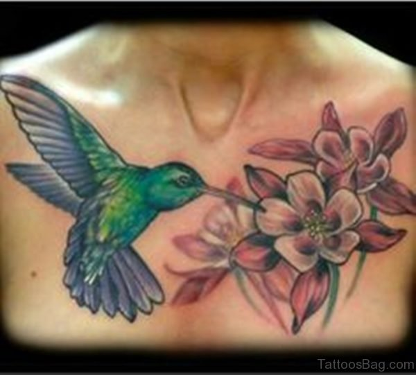 Flower And Hummingbird Tattoo On Chest