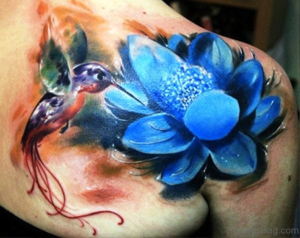 Flower And Hummingbird Tattoo