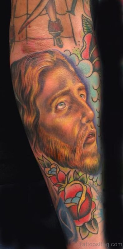 Flower And Jesus Tattoo