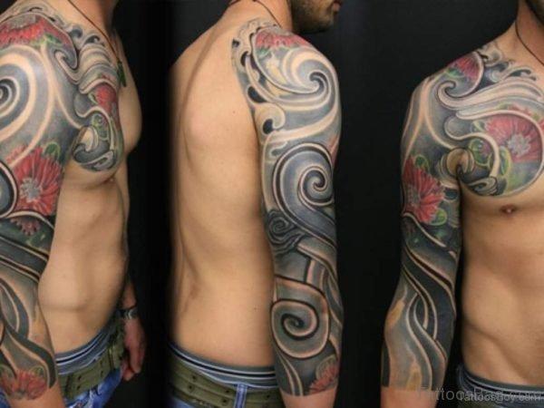Flower And Maori Tribal Tattoo