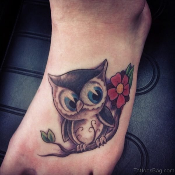 Flower And Owl Tattoo