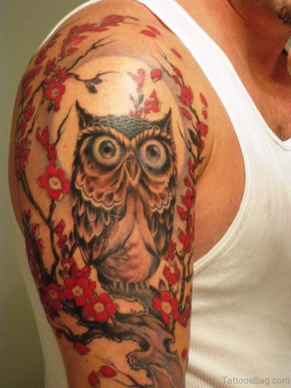 Flower And Owl Tattoo On Shoulder