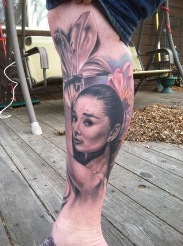 Flower And Portrait Tattoo