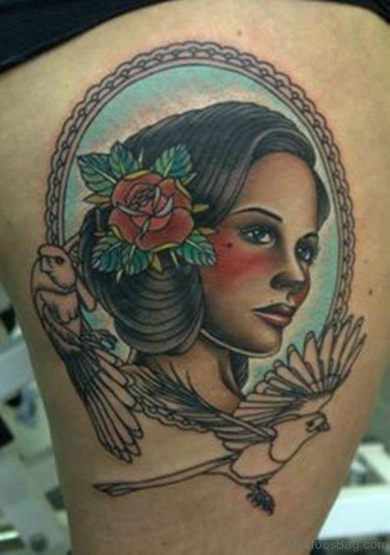 Flower And Portrait Tattoo